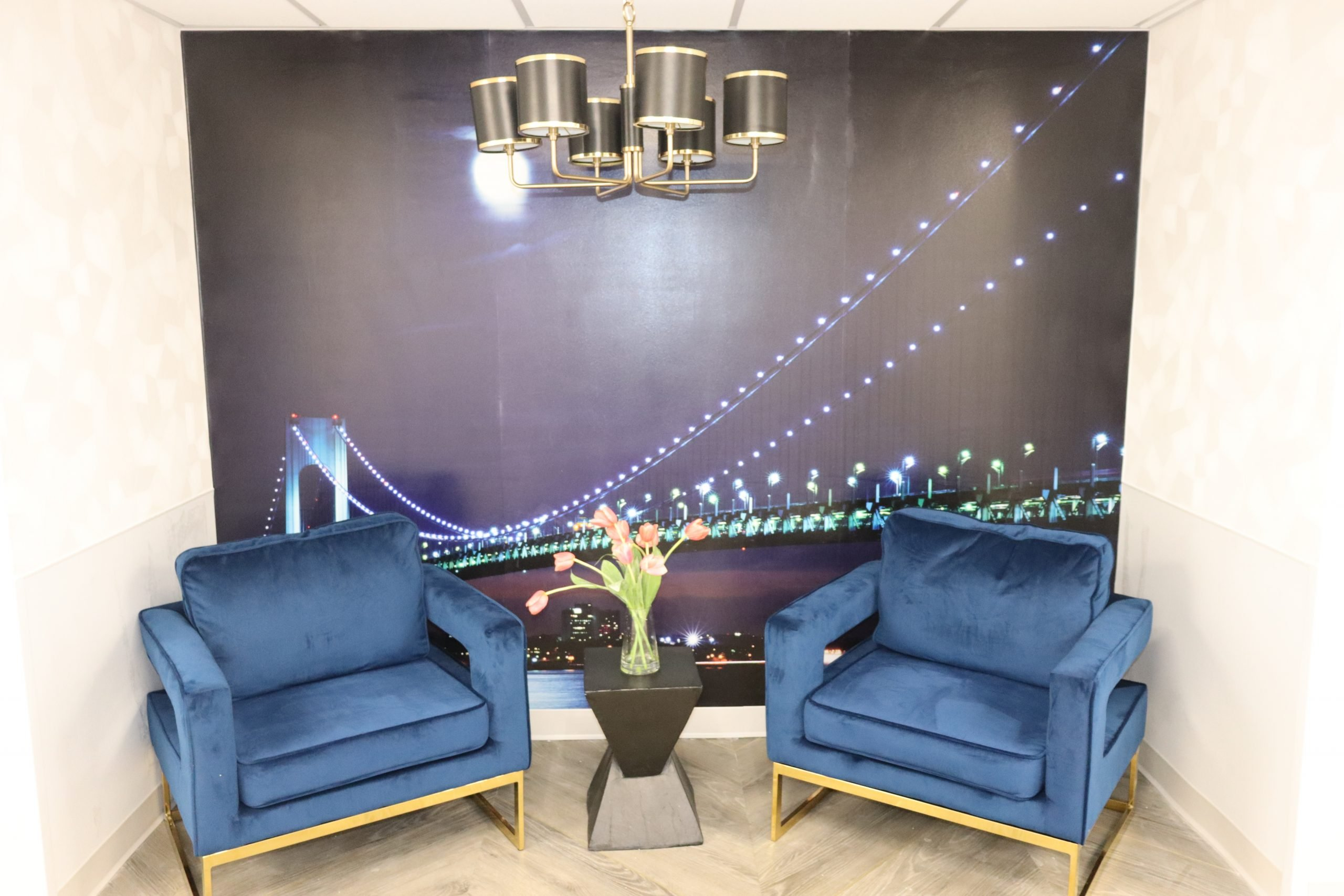 Lobby with blue chairs